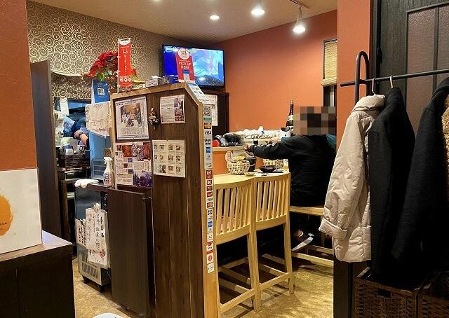 割烹丸庄本田の内観のカウンターテーブル