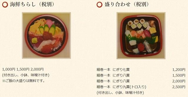 蛇の目の寿司テイクアウトメニュー