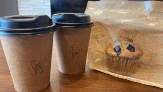 アルパカ珈琲婦中のコーヒーとマフィン