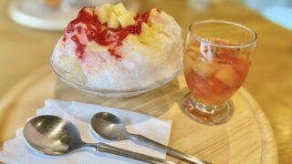 シュウエトの桃のかき氷とフルーツジュース